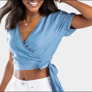 NEW WITH TAG Denim Wrap Cropped Top